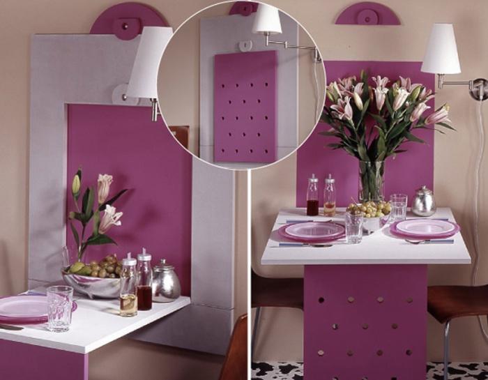 На небольшой кухне просто не обойтись без такого предмета интерьера, как откидной стол.