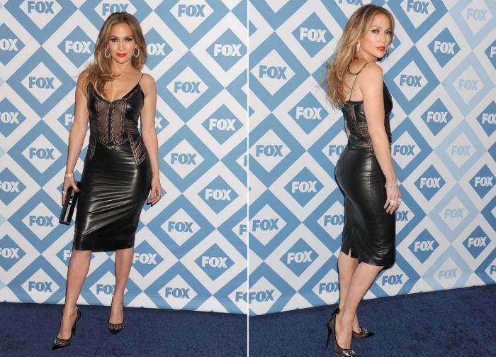Шикарная Дженнифер Лопес в кожаном платье-комбинации на вечеринке FOX Winter TCA All-Star Party.