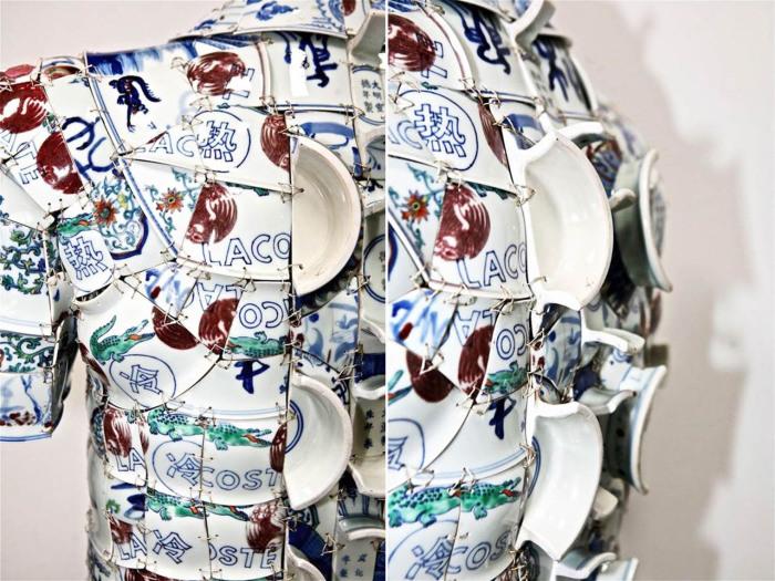 Китайский художник и скульптор создает уникальные вещи из фарфоровых осколков.