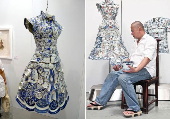 Художник и скульптор из китая Ли Сяофенг (Li Xiaofeng) утверждает, что его фарфоровую одежду можно носить как обычные вещи.
