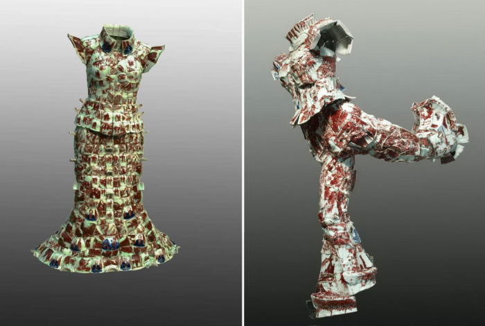 Пекинский художник и скульптор Ли Сяофенг (Li Xiaofeng) стал известен благодаря коллекции необычной одежды, которую он создал из осколков китайского императорского фарфора.