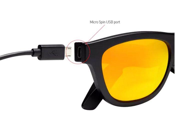Музыкальные очки «Zungle» заряжаются с помощью стандартного кабеля microUSB.