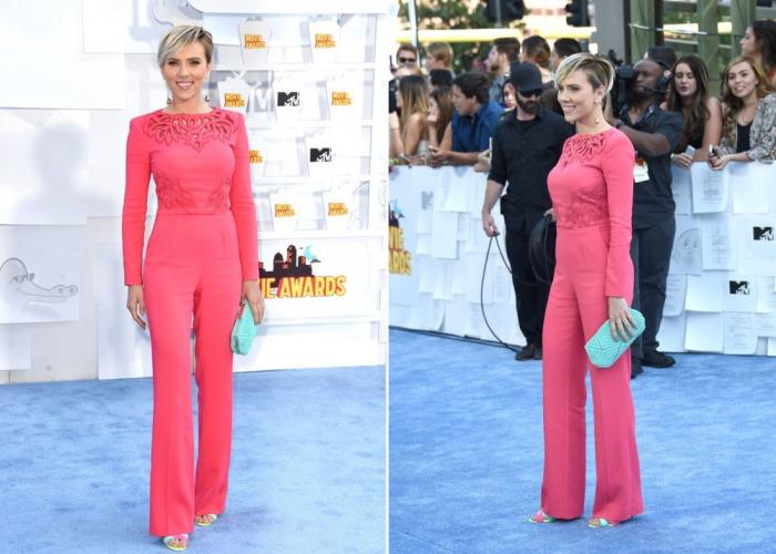 Скарлетт Йоханссон в коралловом комбинезоне признана самой стильной актрисой на церемонии вручения кинонаград MTV Movie Awards.
