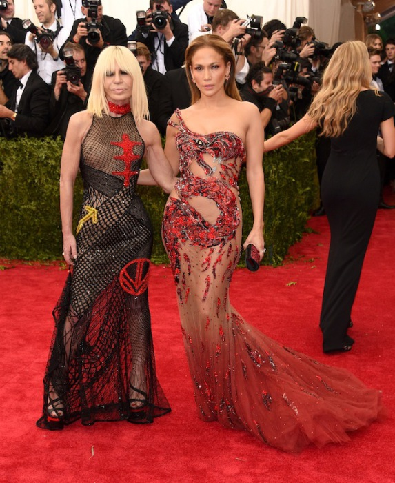 Donatella Versace and Jennifer Lynn Lopez in the dress from Versace.