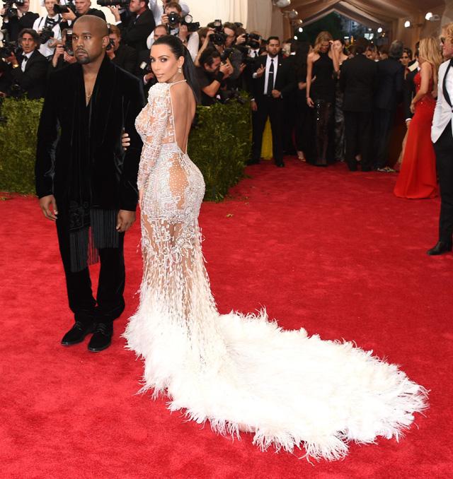 Kanye West and Kim Kardashian in Roberto Cavalli.