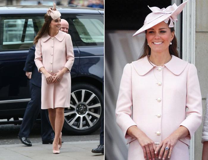 Кейт Миддлтон в нежно-розовом пальто с жемчужными пуговицами Alexander McQueen.