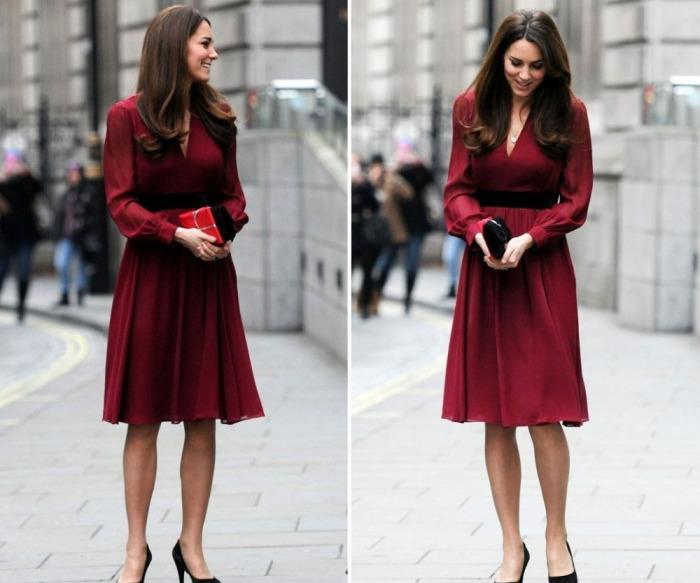 Кейт Миддлтон в шифоновом платье Whistles вишневого цвета.