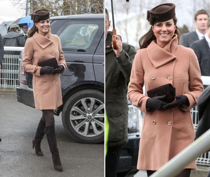 Кейт Миддлтон в пальто Joseph и шляпке Lock & Co.