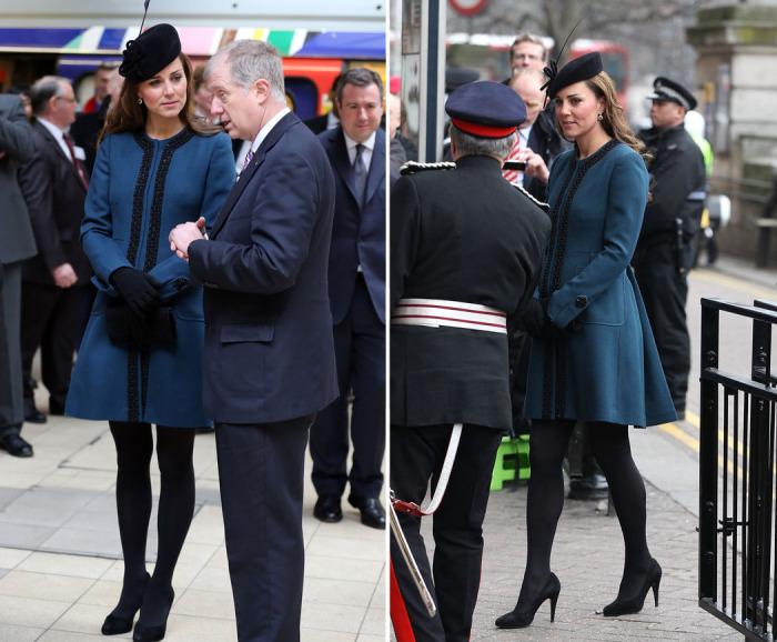 Кейт Миддлтон в синем пальто Malene Birger.