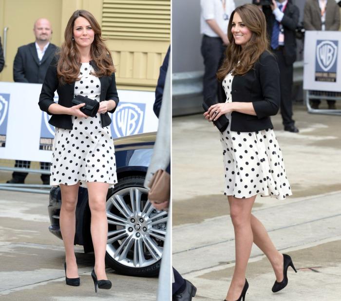 Кейт Миддлтон в белом платье в крупный черный горох от Topshop.
