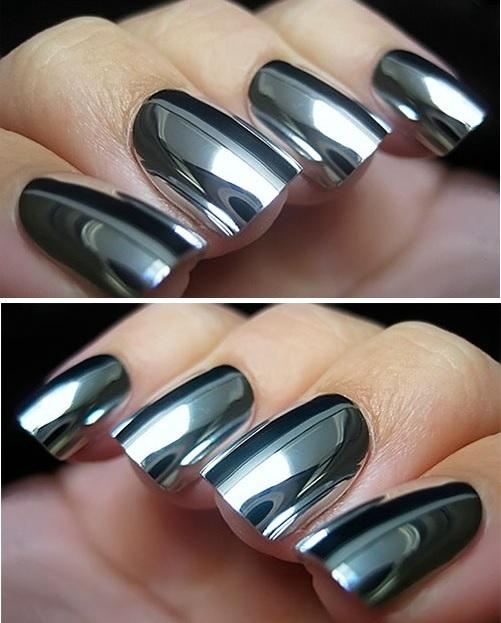 Ногти с зеркальным покрытием выглядят очень оригинально.
