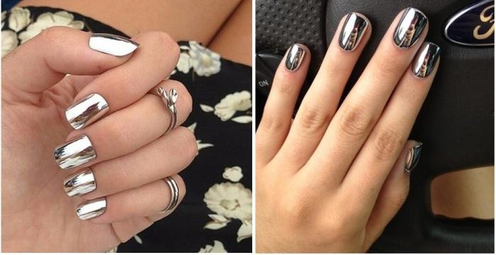 Самый модный весенний маникюр - ногти с зеркальным покрытием.