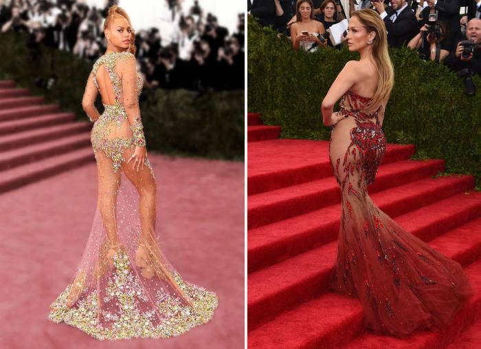 «Голые» наряды, в которых на красных дорожках появлялись знаменитые певицы: Бейонсе (Beyoncе) - в платье от Givenchy и Дженнифер Лопес (Jennifer Lopez) - в платье от Versace.