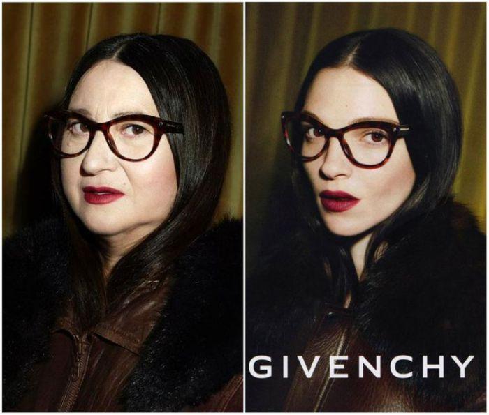Натали Крокет в пародии на рекламу известного бренда Givenchy.