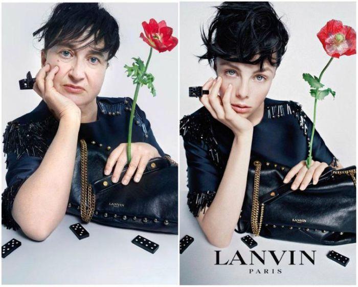 Натали Крокет в пародии на рекламу бренда Lanvin.