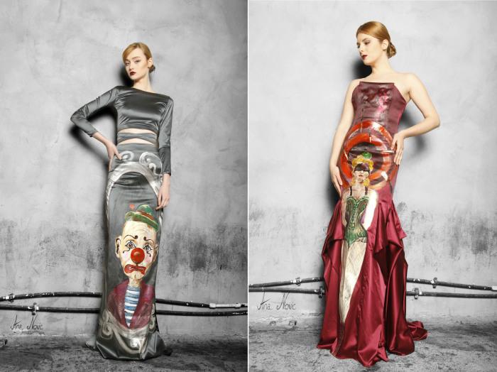 Дизайнерские платья, которые стали своеобразными полотнами для картин, изображающих сцены винтажного цирка.