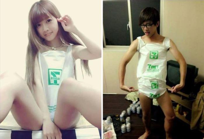 Молодые ребята с острова Тайвань запустили новый флешмоб в приложении Инстаграм - фотографии в майках и купальниках,  сделанных из полиэтиленовых пакетов, приобретенных в супермаркетах.