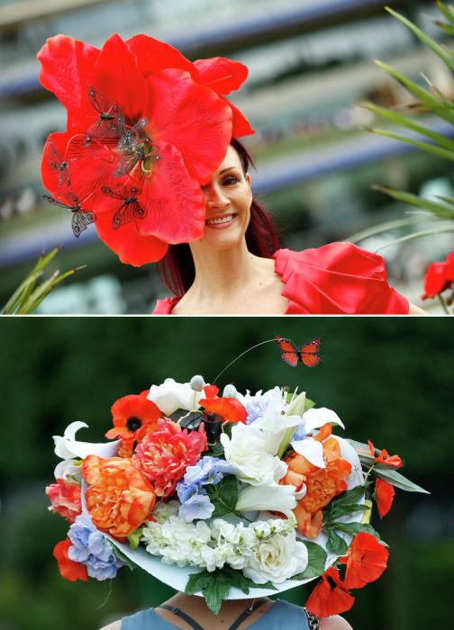 Необычные шляпки, напоминающие цветочные клумбы, с открытия традиционных королевских скачек Royal Ascot-2015.