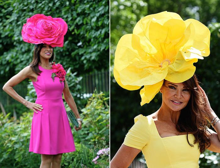 Шляпы с огромными яркими цветами, которые были продемонстрированы на открытии ежегодных королевских скачек Royal Ascot.