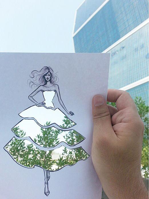 Художник, архитектор и дизайнер Шамех Блуви (Shamekh Bluwi) начал создавать эскизы модных нарядов, которые можно раскрасить любым фоном.