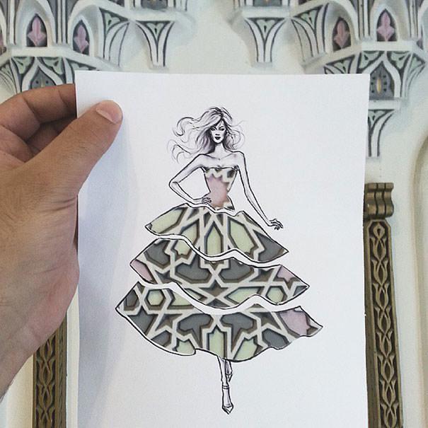 Модельеры и кутюрье всего мира утверждают, что бумажные модели иорданского дизайнера могут стать отличным поводом для создания новых расцветок для тканей.