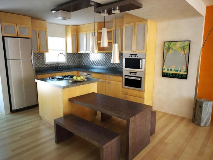 Остров с варочной поверхностью в маленькой кухне.