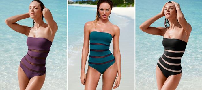 Слитный купальный костюм от бренда Victoria's Secret - Mesh-inset Strapless One-piece, стоимость которого - 58 долларов.