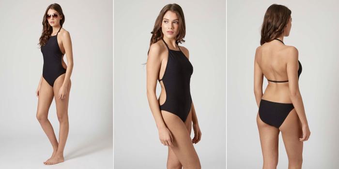 Слитный купальный костюм от бренда Topshop - Textured Square Neck Swimsuit, стоимость которого - 60 долларов.