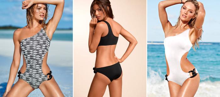 Слитный купальный костюм от бренда Victoria's Secret - One-shoulder Monokini, стоимость которого - 59 долларов.
