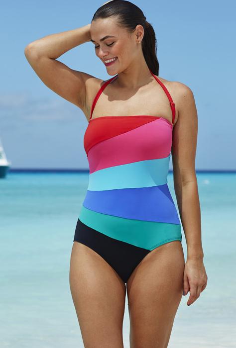 Слитный купальный костюм от бренда Swimsuits for All - Anne Cole Colorblock Spliced One Piece, стоимость которого - 68 долларов.