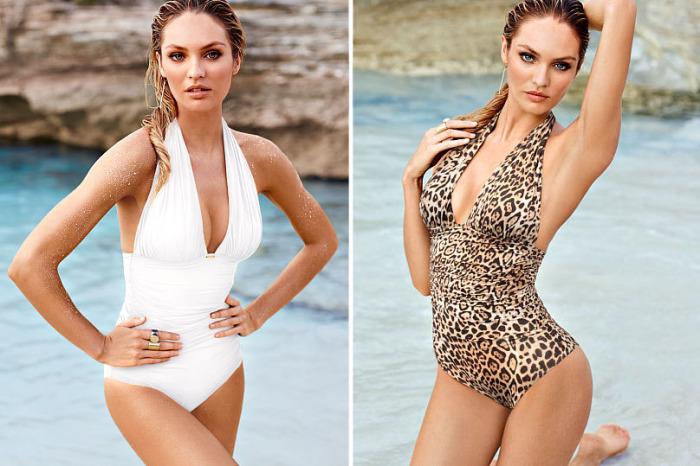 Слитный купальный костюм от бренда Victoria's Secret - Halter One-piece, стоимость которого - 128 долларов.