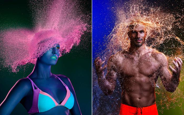 Лысые ребята «надели» необычные парики из воды под руководством известного фотографа из Лос-Анджелеса (южная Калифорния, США).