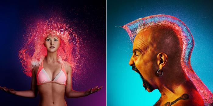 «Water Wigs» («Парики из воды») - это серия снимков, на которых у лысых людей появляются «волосы» из водных брызг.