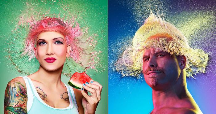Необычные парики из воды для лысых парней и девушек от известного американского фотографа из Калифорнии.