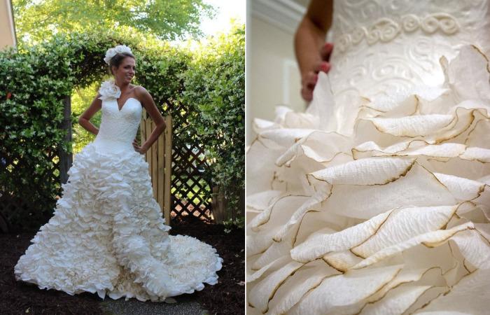 Невероятно, но факт: это роскошное свадебное платье сделано из обычной туалетной бумаги.