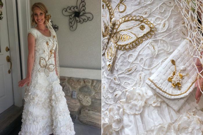 Потрясающие свадебные платья из обычной туалетной бумаги.