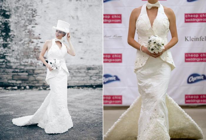 Туалетная бумага - новый материал для создания невероятных свадебных платьев.