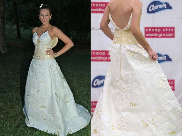 Необычайно талантливые американские дизайнеры представили публике замечательные свадебные платья из обычной туалетной бумаги.