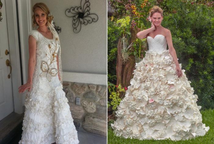 Сложно поверить, что эти чудесные свадебные платья сделаны из обычной туалетной бумаги.