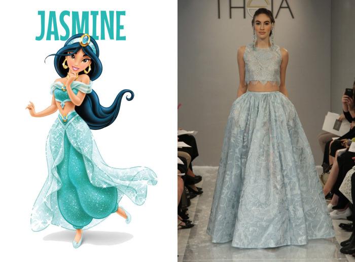 Оригинальный свадебный костюм с коротким топом от американского модного бренда Theia для фанаток принцессы Жасмин из мультфильма Аладдин (Aladdin).