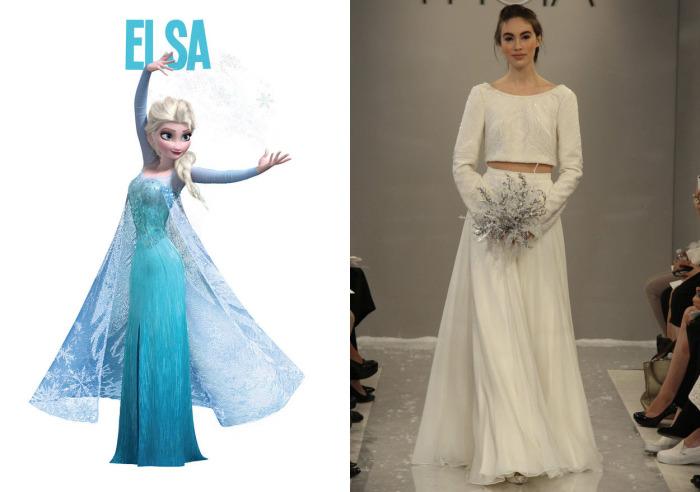 Изысканный свадебный костюм с коротким топом и длинной юбкой от американского модного бренда Theia для фанаток Эльзы (Elsa) из мультфильма Холодное сердце (Frozen).