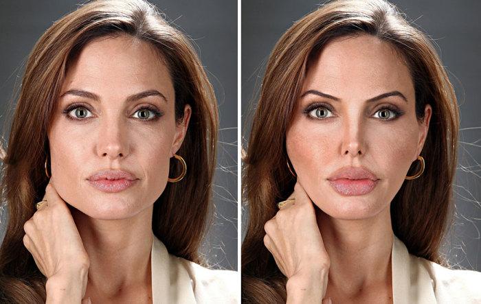 Так изменилось бы лицо известной актрисы Анджелины Джоли (Angelina Jolie), если бы она сделала несколько пластических операций.