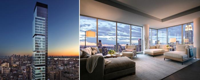 Звездные апартаменты на 47-м этаже 60-этажного небоскреба в Нью-Йорке.