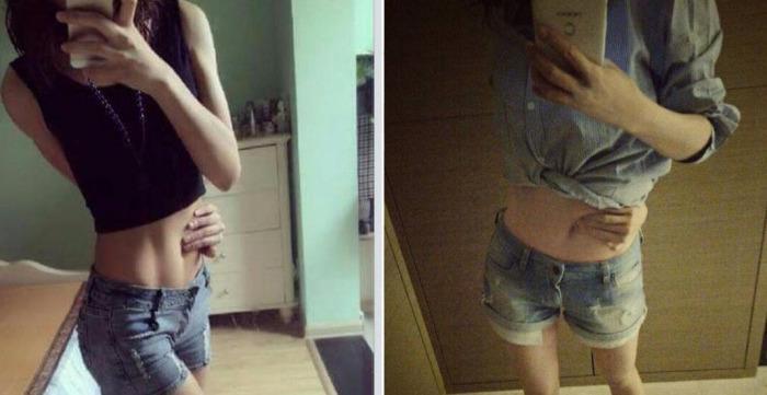 Девушки по всему миру пытаются дотянуться до своего пупка рукой из-за спины.