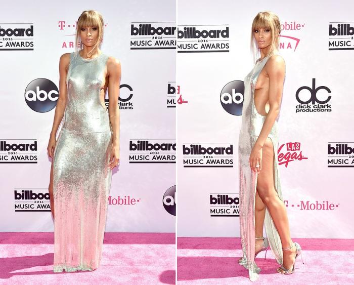 Американская певица, танцовщица, актриса и модель Сиара (Ciara) в платье с глубоким вырезом и длинным разрезом на красной дорожке «Billboard Music Awards-2016».