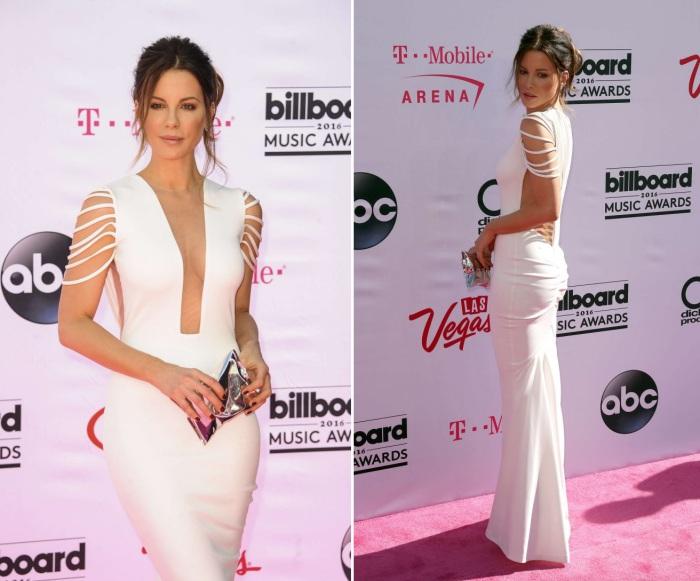 Американская актриса Кейт Бекинсейл (Kate Beckinsale) в длинном платье с глубоким декольте на церемонии вручения музыкальных наград «Billboard Music Awards-2016».