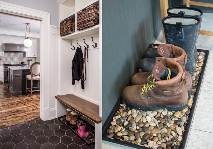 Поддон с камушками - легкий и доступный способ сделать практичную подставку для грязной обуви.