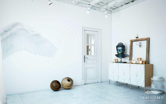 Комната для медитации в питерской квартире, площадь которой 166 квадратных метров.