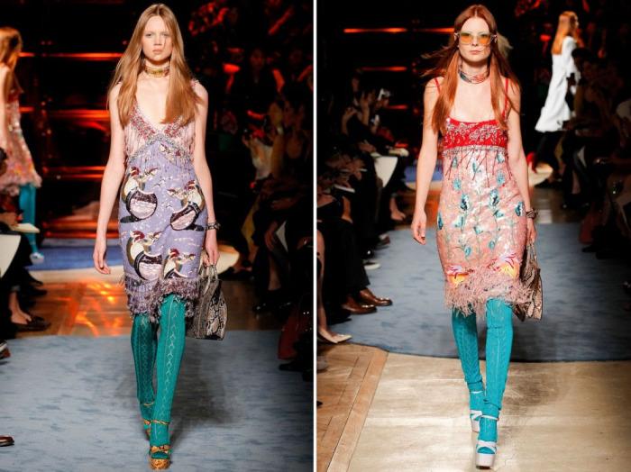 Красочные платья-комбинации со смелыми принтами и бахромой от  Miu Miu.