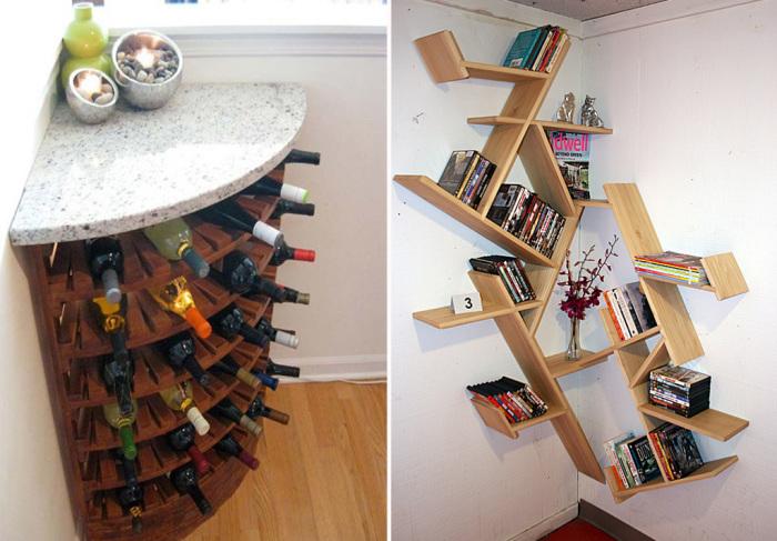 Несколько полезных идей для грамотного использования углового пространства в доме и квартире.